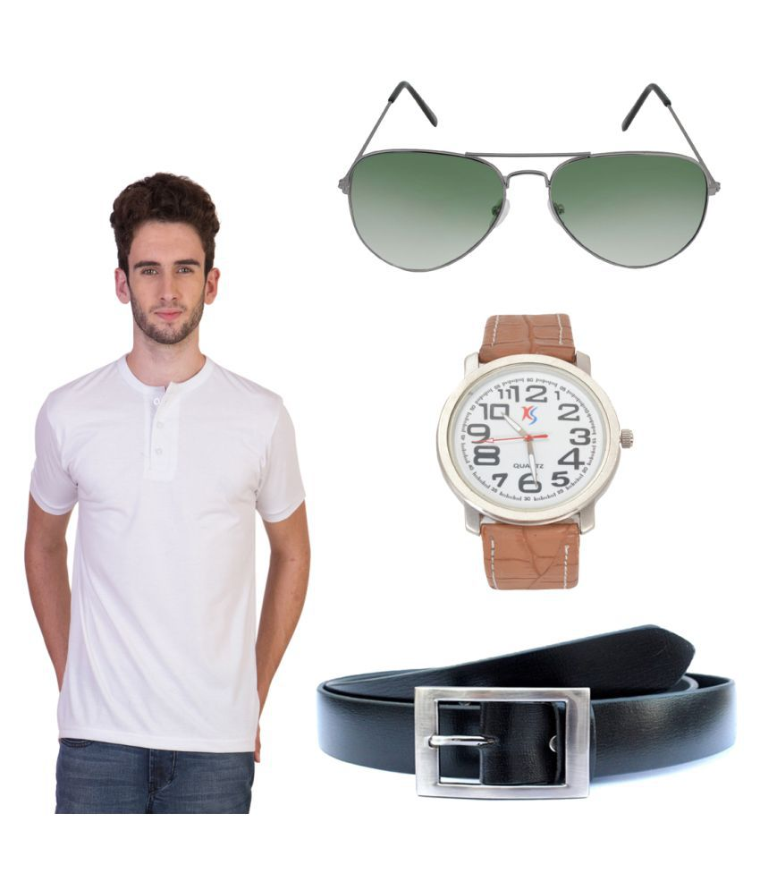 Knightly Fashion White Henley T-Shirt with Belt, Sunglasses and Watch