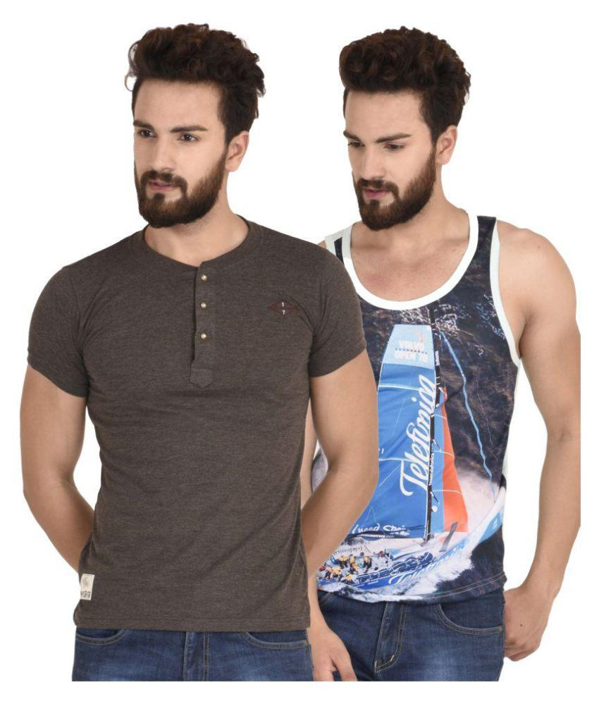 MSG Multi Henley T-Shirt Pack of 2
