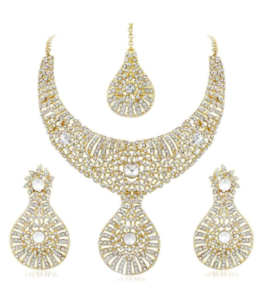 Vidhi Jewels Golden Zinc Necklace Set Combo