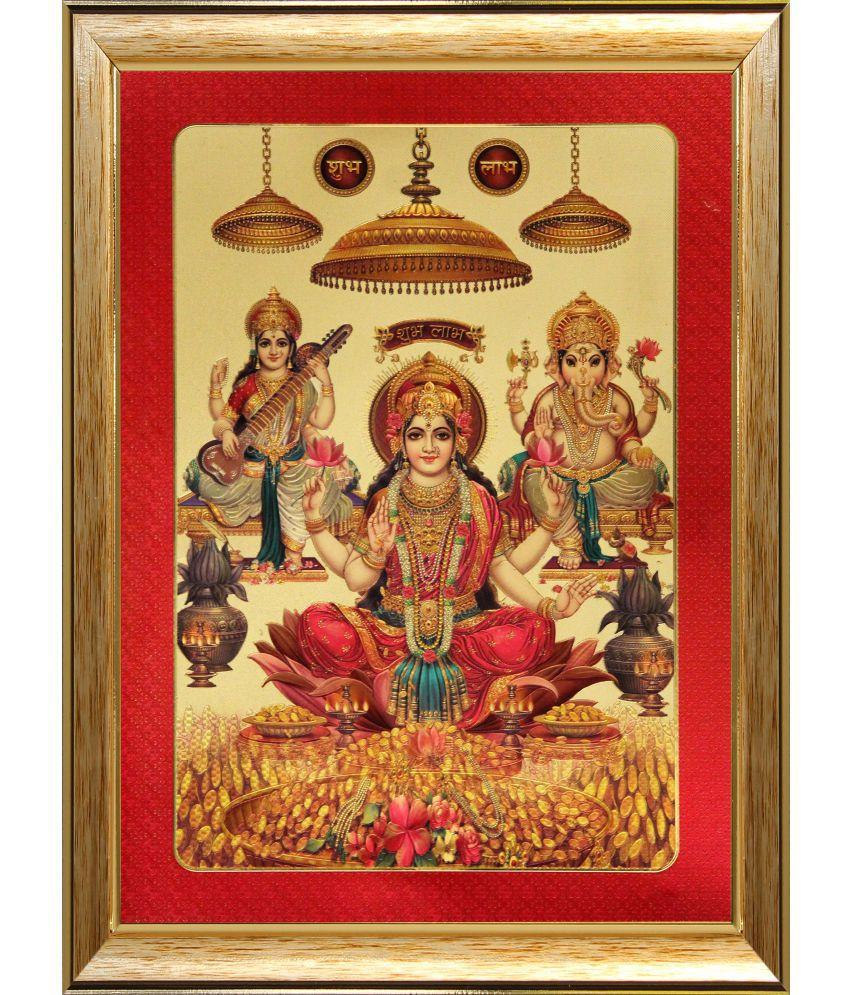SAF Laxmi Ganesh Saraswati Wood Religious Paintings With Frame Single Piece