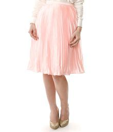 Aeom Couture Pink Poly Satin A-Line Skirt