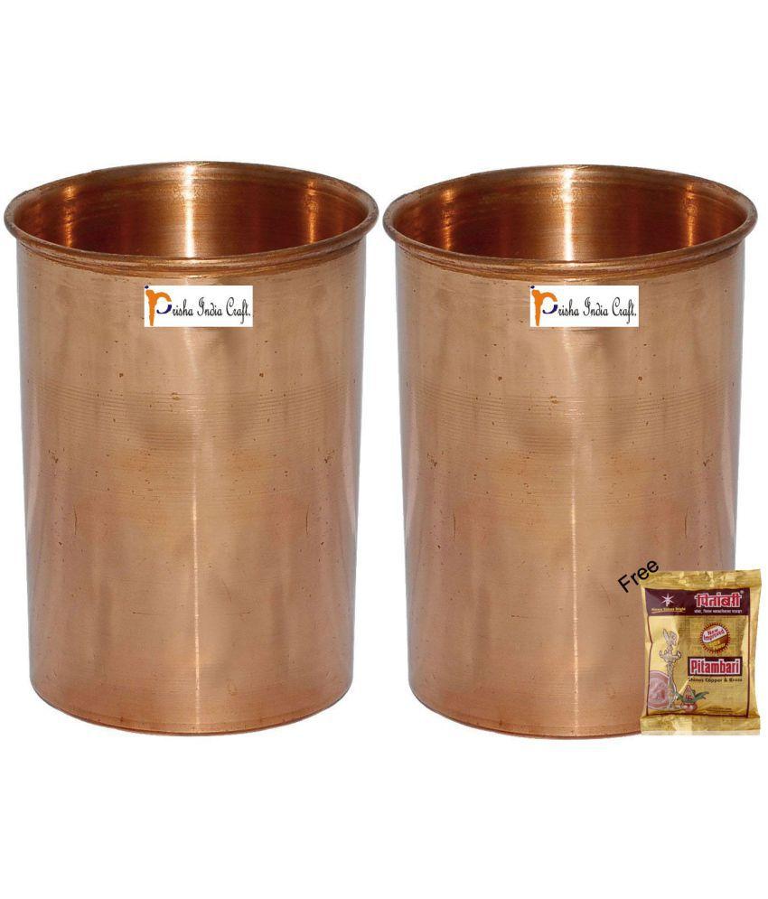 Prisha India Craft Copper Glass   Set of 2