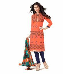 The Fashion Outlets Orange Chanderi Dress Material - 681916878552