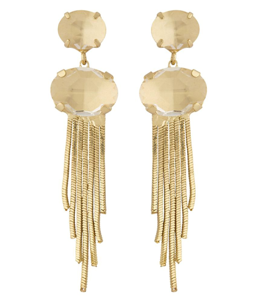 Voylla Beige Alloy Hangings Earrings