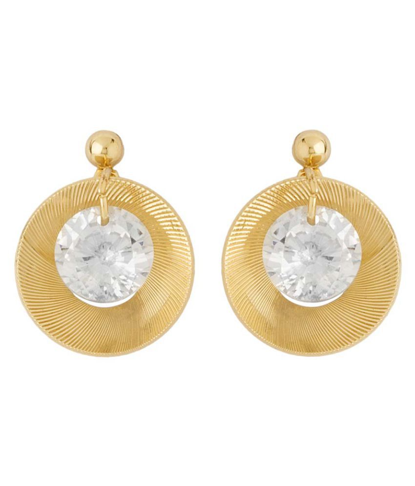 Voylla Golden Alloy Stylish Earrings Studded with CZ