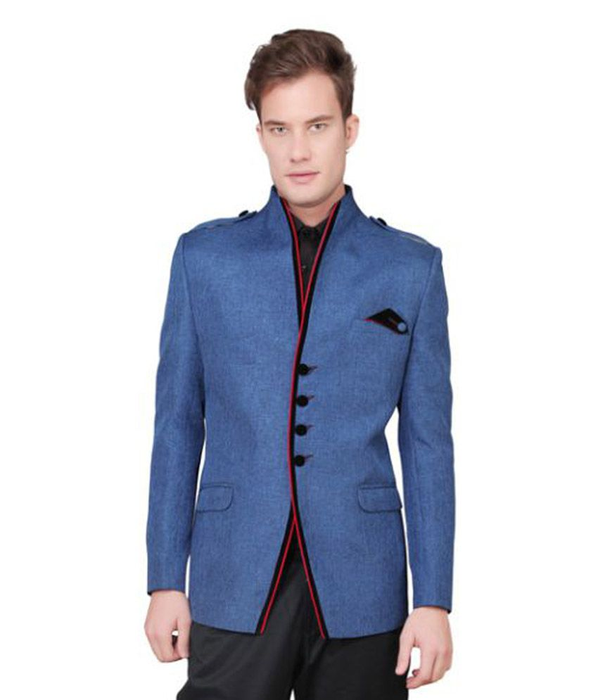 Ajay Arvindbhai Khatri Blue Solid Party Blazers
