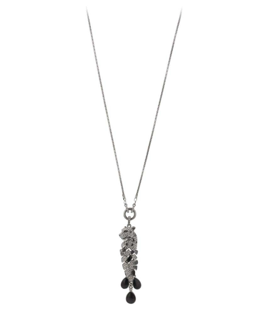 Jazz Jewellery Black Metal Ad Stone Studded Leopard Pendent Long Chain Necklace