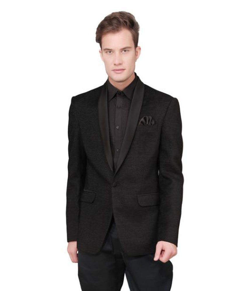 Ajay Arvindbhai Khatri Black Solid Party Blazers