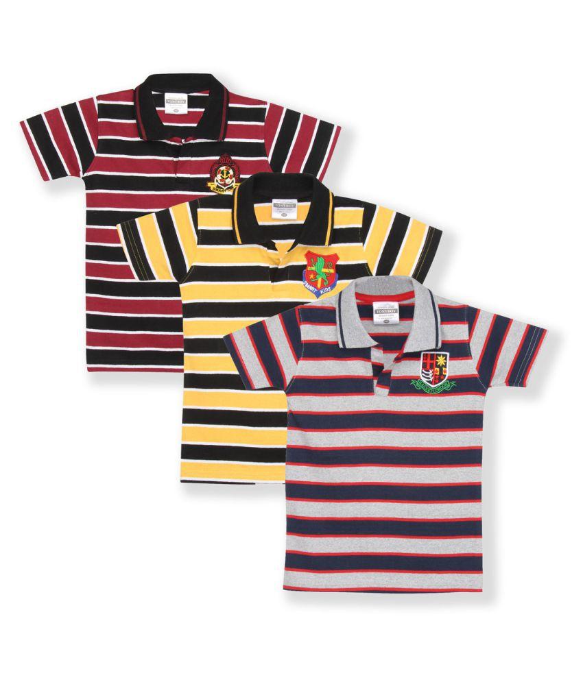 Tonybo Multicolour Boys Printed T-Shirt (Pack Of 3)