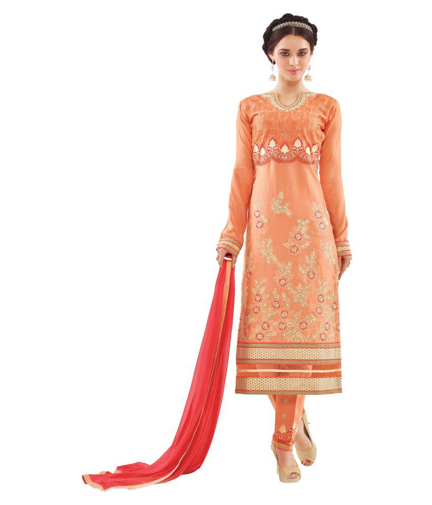 Mozzafiate Apparels Orange Cotton Dress Material