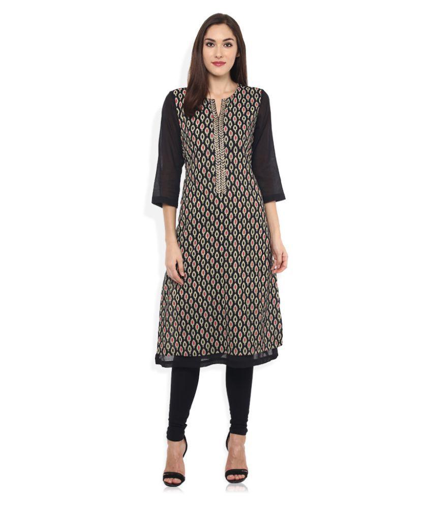 Rangmanch by Pantaloons Black Cotton Straight Kurti
