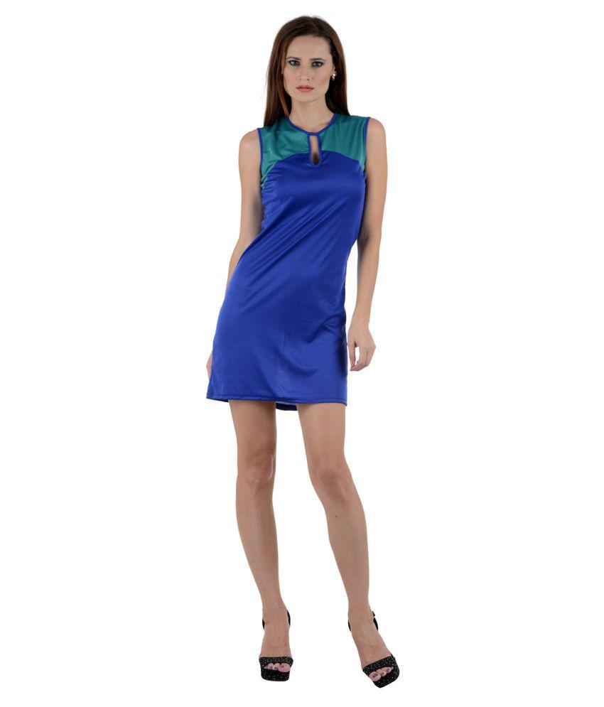 SareeGalaxy Blue Viscose Dresses