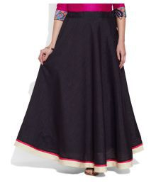Very Me Black Polyester A-Line Skirt