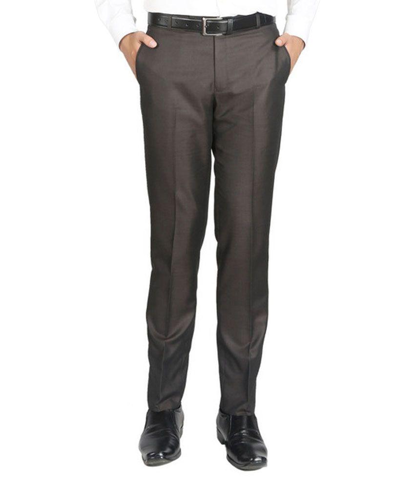 Numerics Brown Slim Pleated Trouser