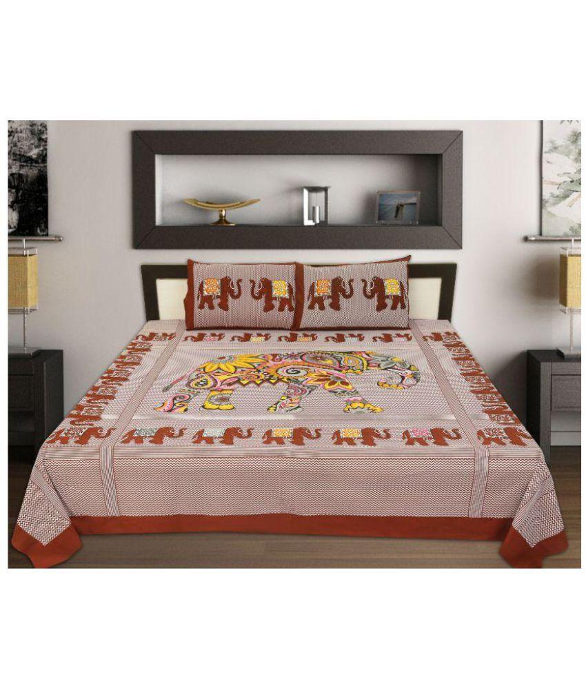 Jaipur Print King Cotton Animal Bed Sheet