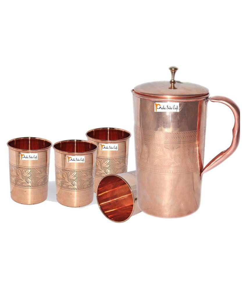 Prisha India Craft Copper Jug ( Handmade Jug 1600 ML / 54.10 oz ) with Four Glass Drinkware Set of Jug and Glass