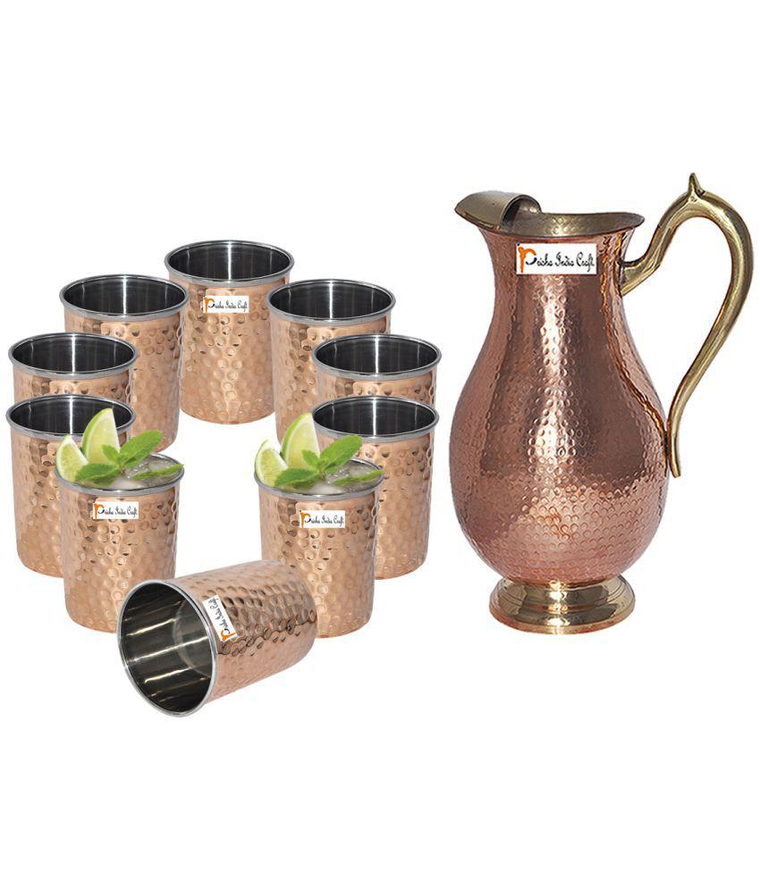 Prisha India Craft Copper Jug   Royal JUG 2000 ML / 67.63 oz   with Ten  10  Glass Drinkware Set of Jug and Glass