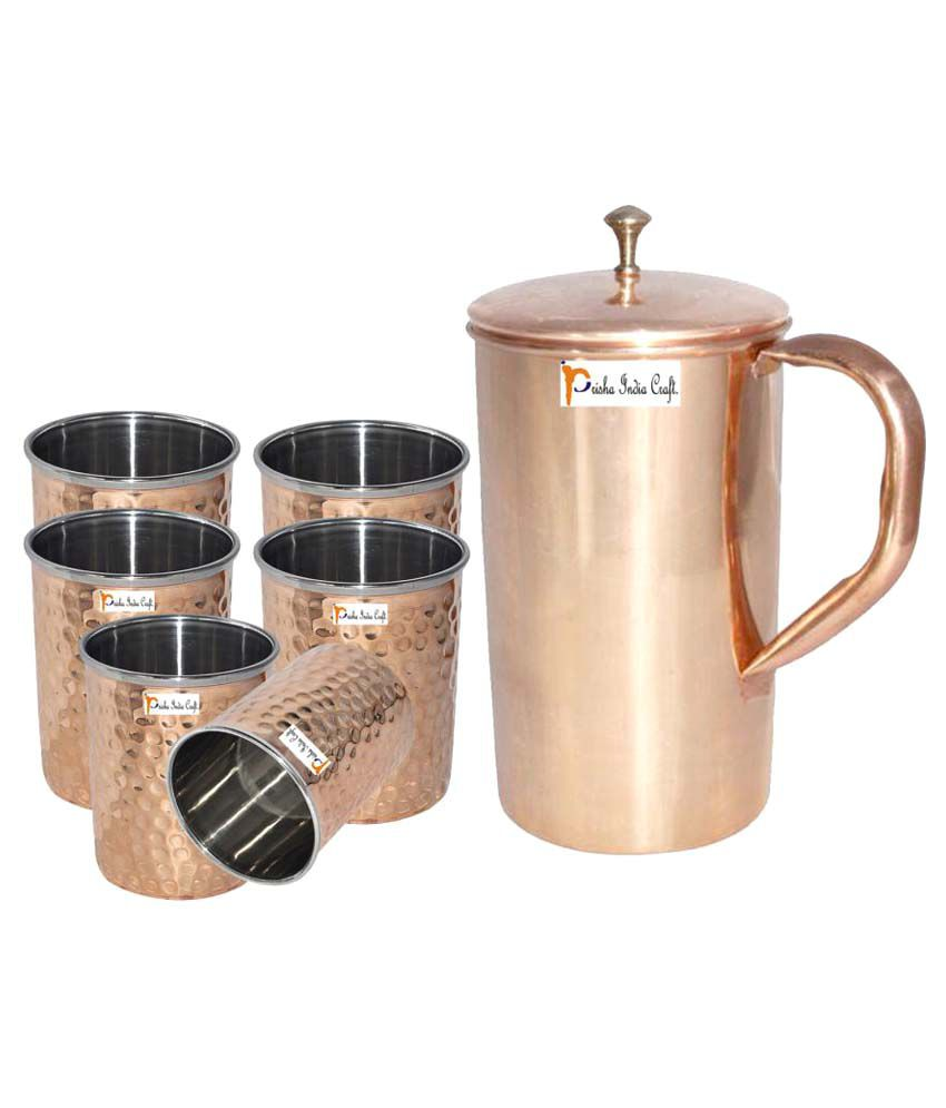 Prisha India Craft Copper Jug ( Handmade Jug 1800 ML / 60.86 oz ) with Six Glass Drinkware Set of Jug and Glass