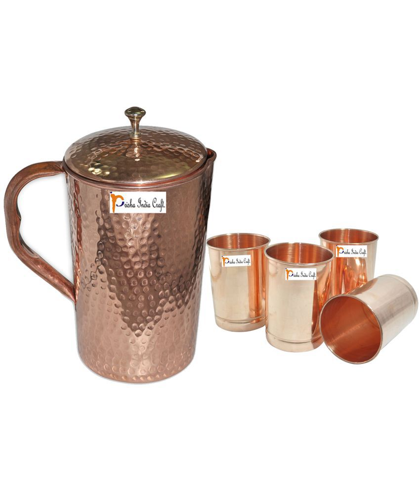Prisha India Craft Copper Jug  ( Hammered Jug 1650 ML / 55.80 oz ) with Four Glass Drinkware Set of Jug and Glass