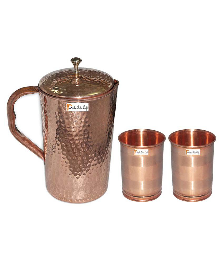 Prisha India Craft Copper Jug  ( Hammered Jug 1650 ML / 55.80 oz ) with Two Glass Drinkware Set of Jug and Glass