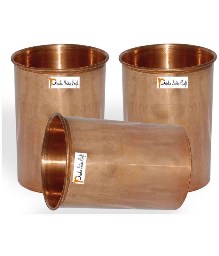 Set of 3   Prisha India Craft ® Drinking Copper Glass Tumbler Handmade Water Glasses   Traveller #039;s Copper Mug   Copper Cup