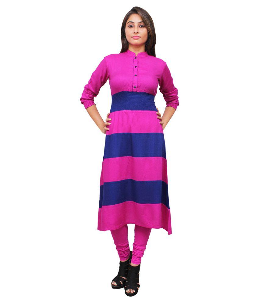Harshaya G Multicoloured Rayon Anarkali Kurti