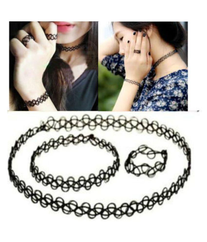 Annie Stretchable Tattoo Choker Necklace Ring & Bracelet Set and two  Stretchable Choker