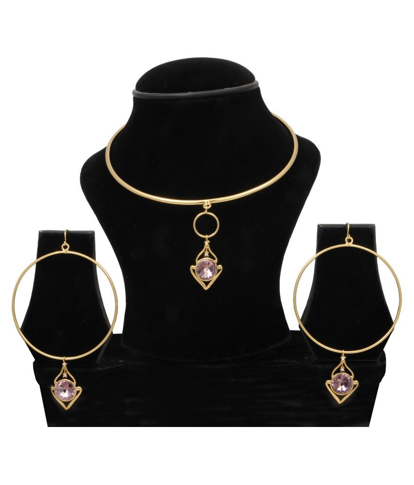 WOAP+ Golden Alloy Necklace set with Bracelet