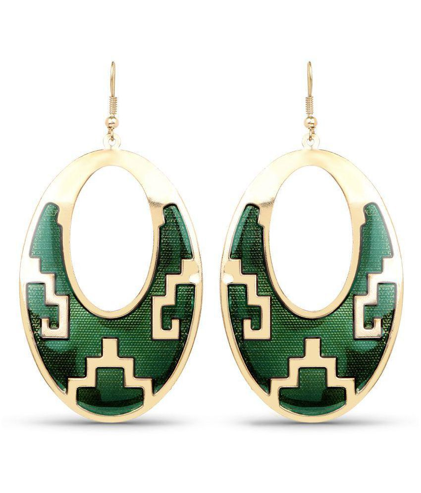 Johareez Rose Gold Plated Textured Green Enamel Fashion Earrings