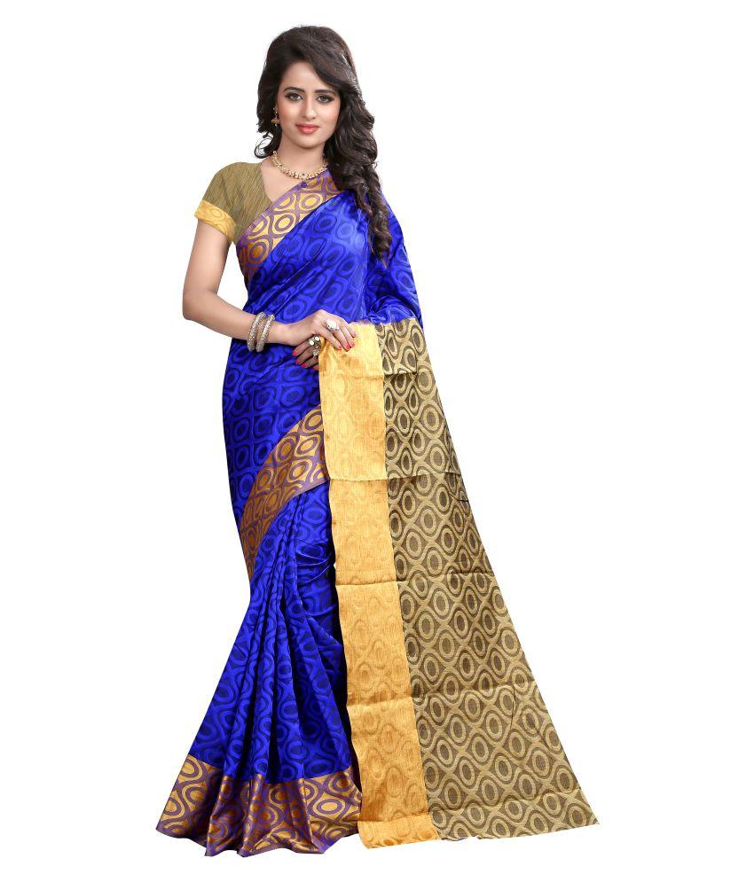 Greenvilla Designs Blue Cotton Silk Saree