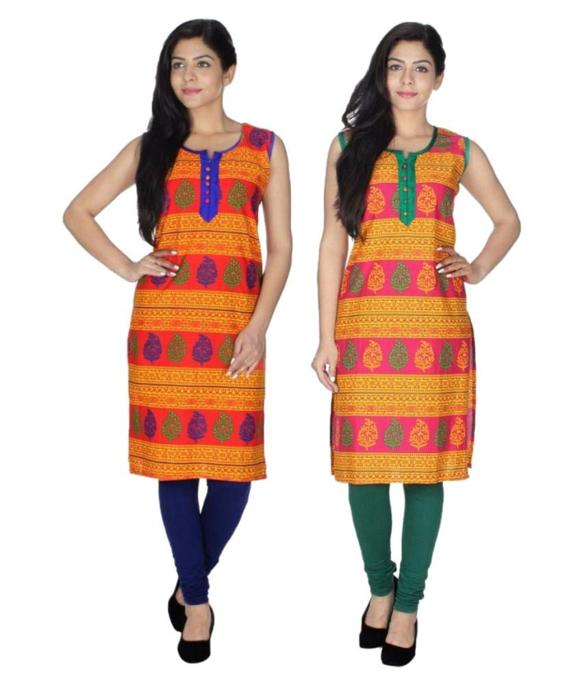 Look Good Apparel Multicoloured Cotton Straight Kurti