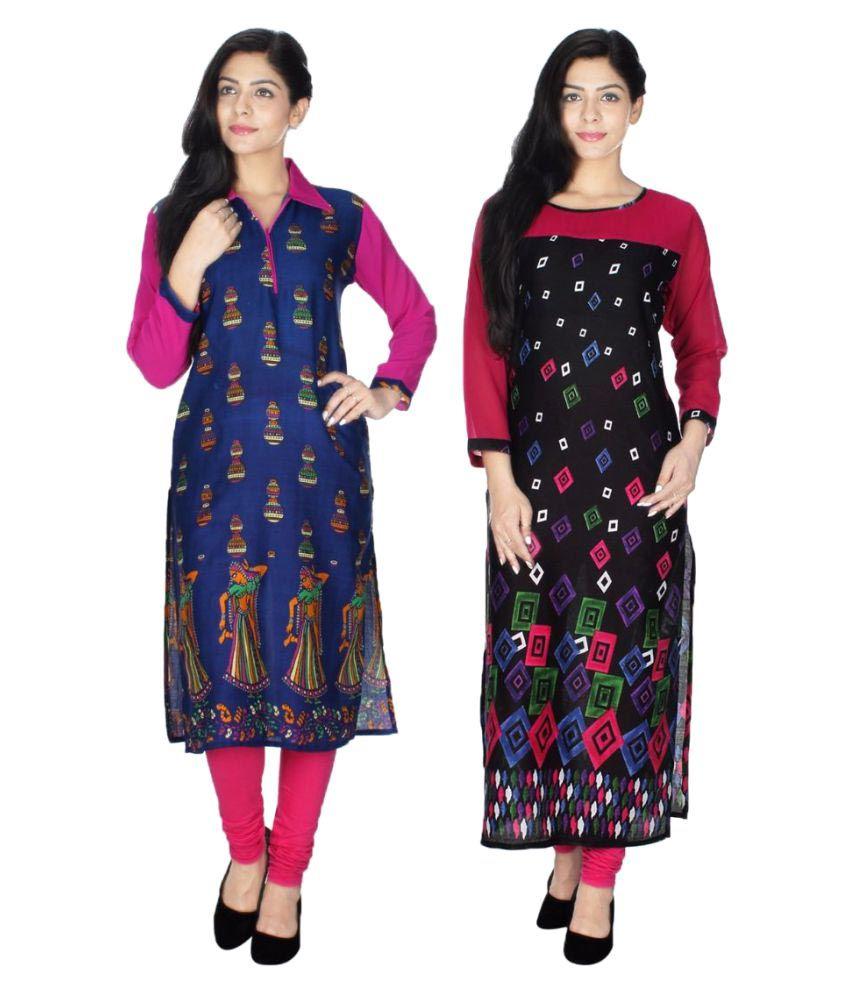 Look Good Apparel Multicoloured Rayon Straight Kurti