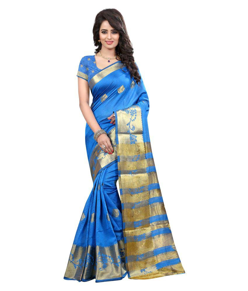 Greenvilla Designs Blue Silk Saree
