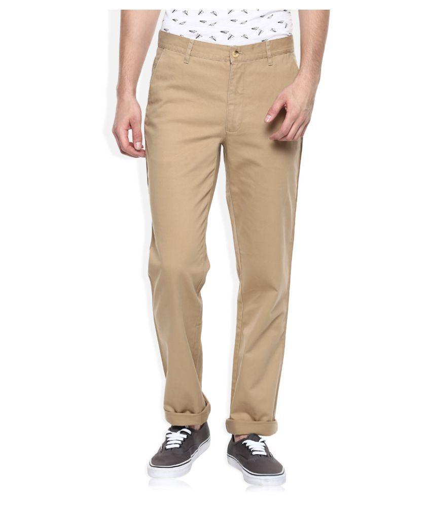 John Players Khaki Regular Flat Trouser