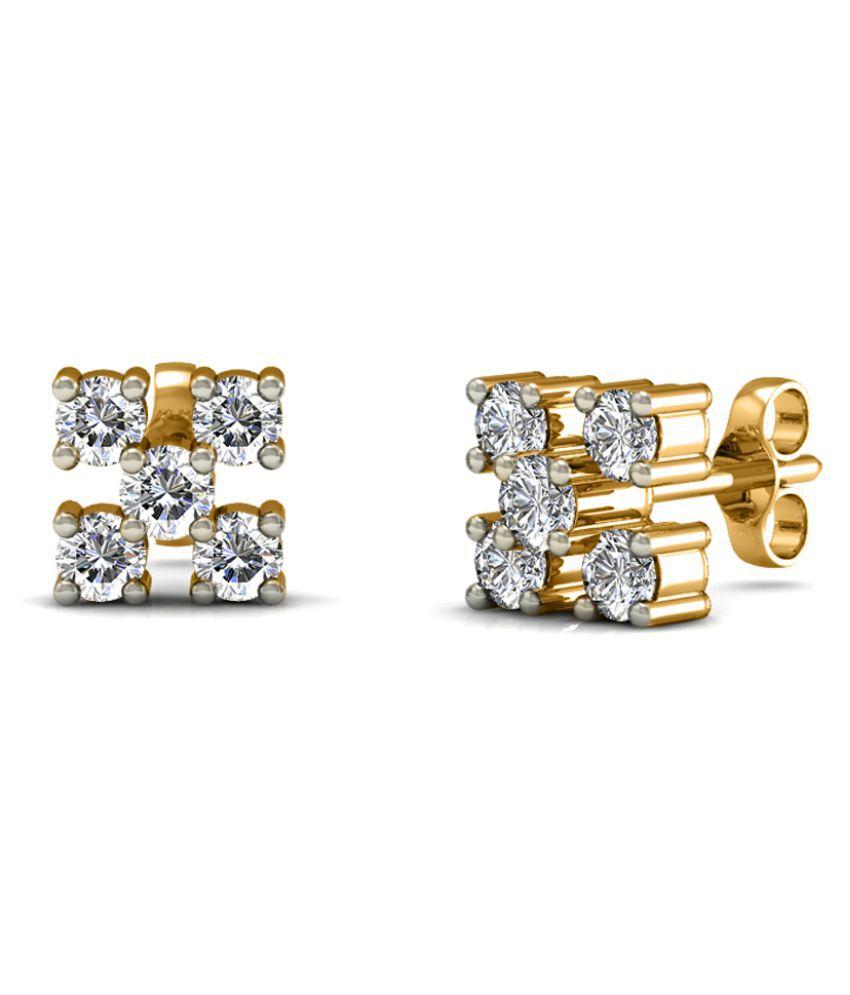 Diaonj 14k BIS Hallmarked Yellow Gold Diamond Studs
