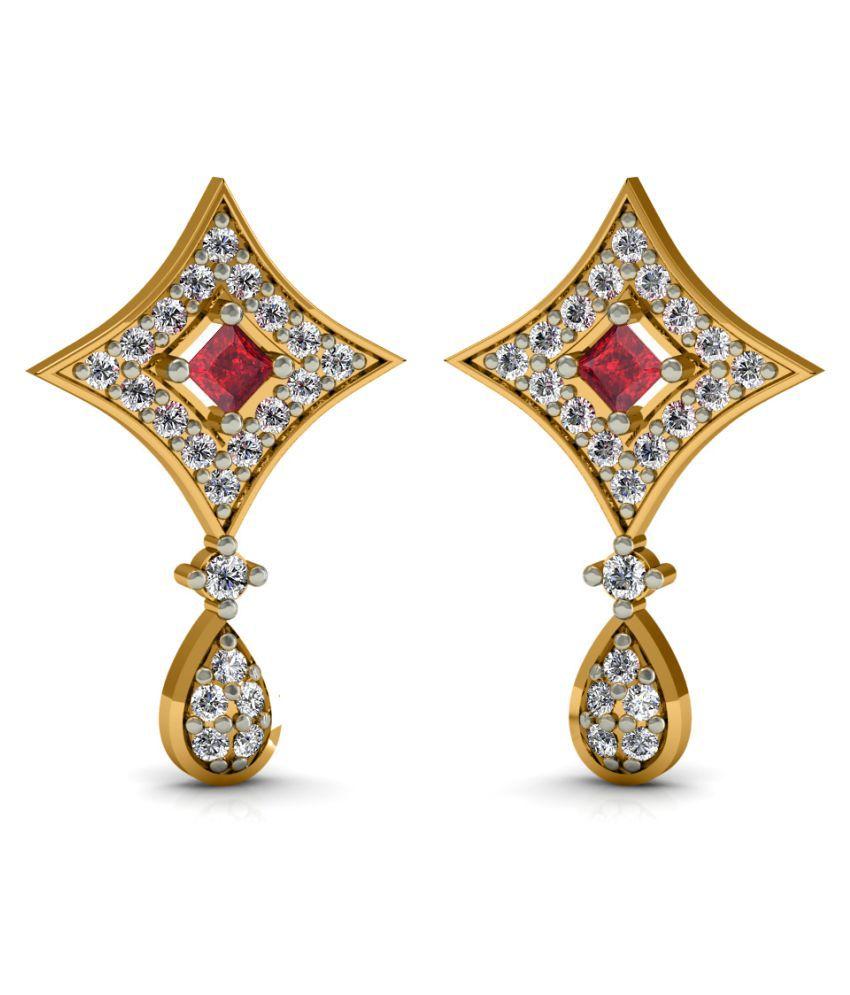 Diaonj 14k BIS Hallmarked Yellow Gold Diamond Drop Earrings