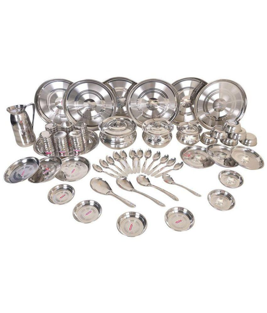 Parasnath Silver Stainless Steel Dinner Set i