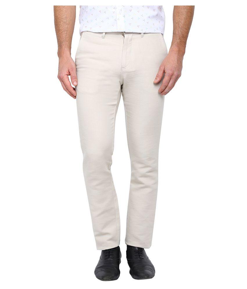 Arrow Sports White Regular Flat Trouser