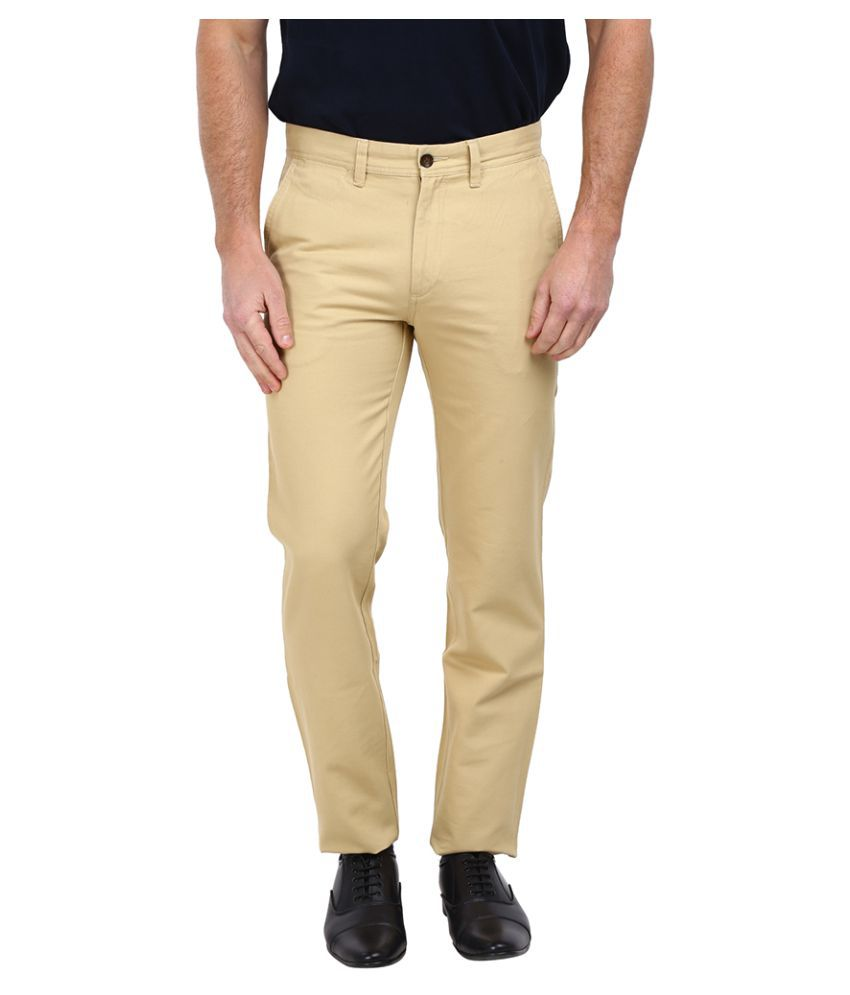 Arrow Sports Beige Slim Flat Trouser