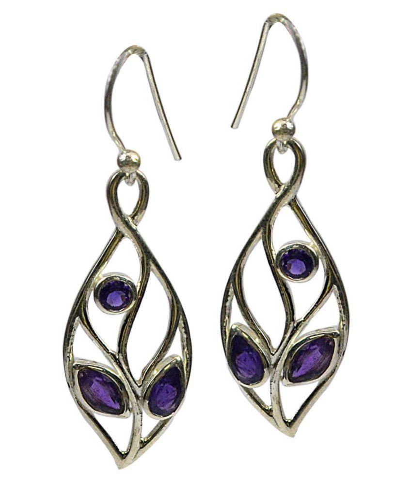 CCI 92.5 Silver Amethyst Drop Earrings