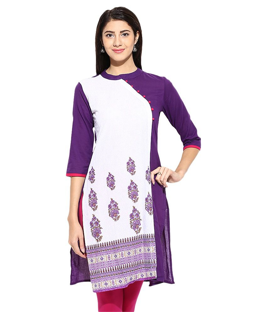 Evam Multicoloured Cotton A-line Kurti