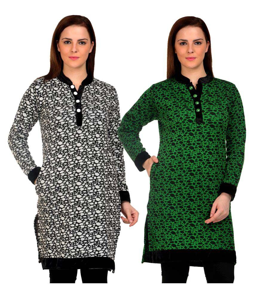 Sanvi Traders Multicoloured Woollen Straight Kurti