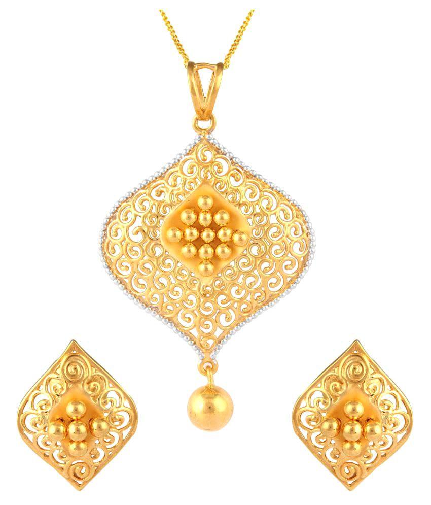 Tbz the original 22k bis hallmark yellow gold pendant set buy tbz tbz the original 22k bis hallmark yellow gold pendant set aloadofball Images