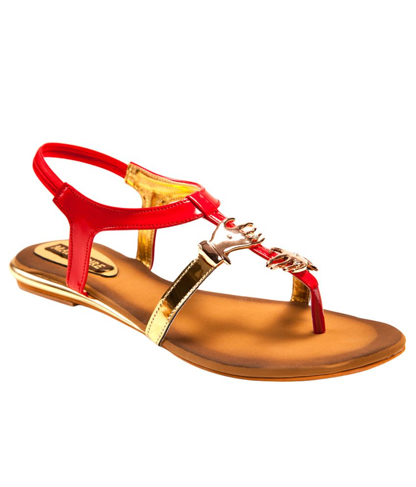Marc Loire Patent Flat  Sandals-Red