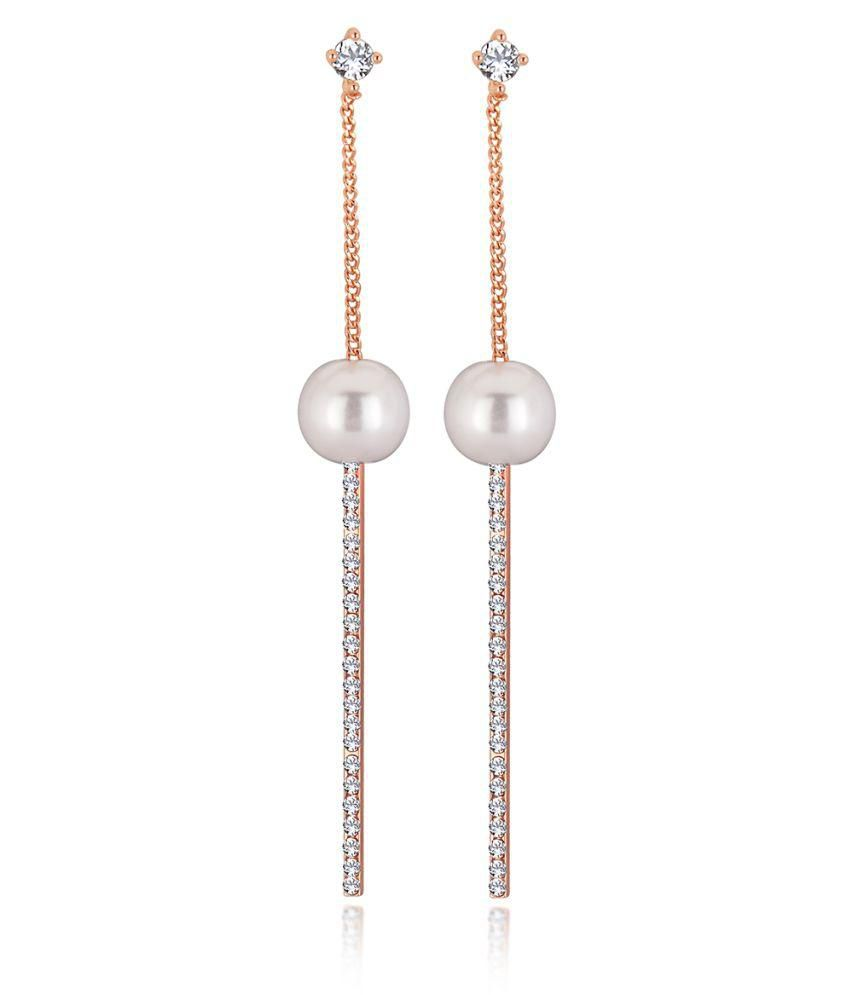 Spargz Rose Gold Plating Alloy Long Chain Dangle & Drop Earrings