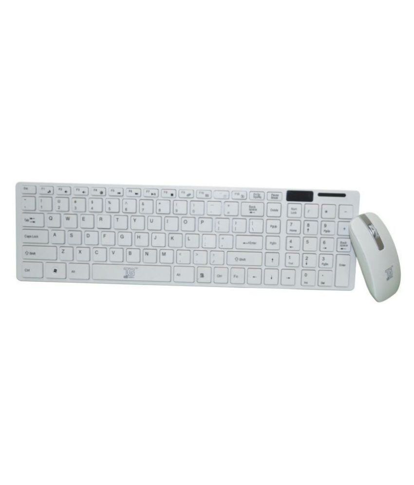TACGEARS 5001 White Wireless Keyboard Mouse Combo Keyboard