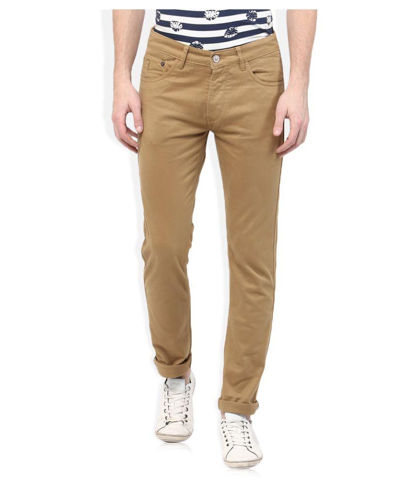 Spykar Beige Slim Flat Trouser