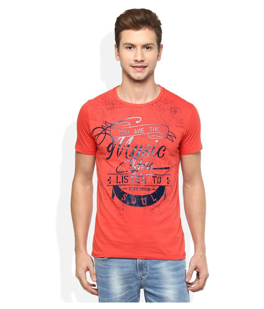 Spykar Orange Round T-Shirt