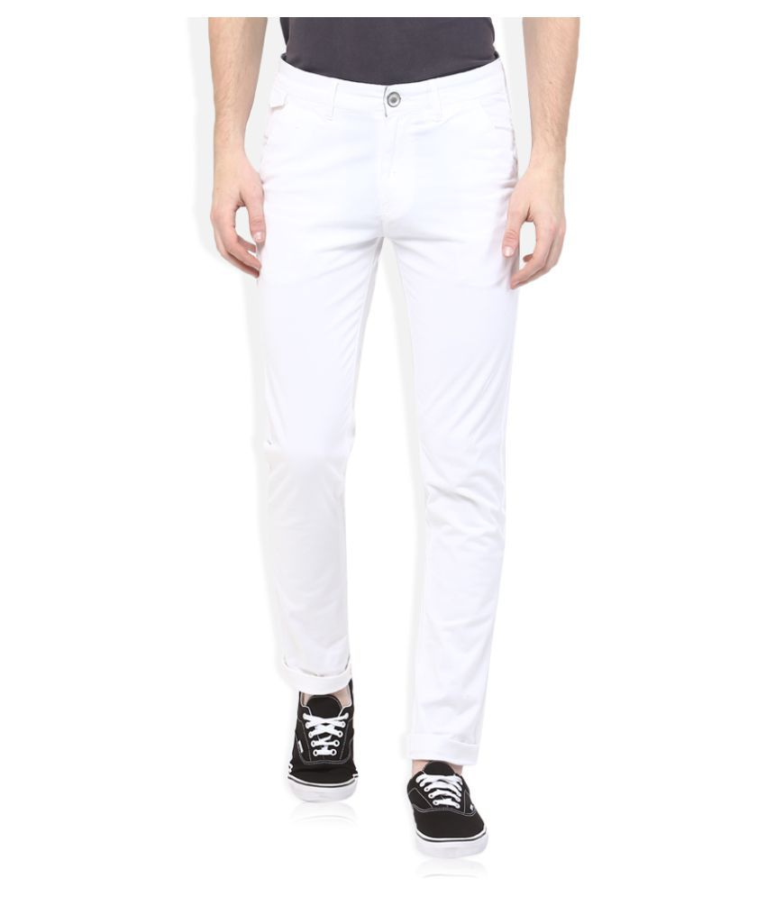 Spykar White Slim Flat Trouser