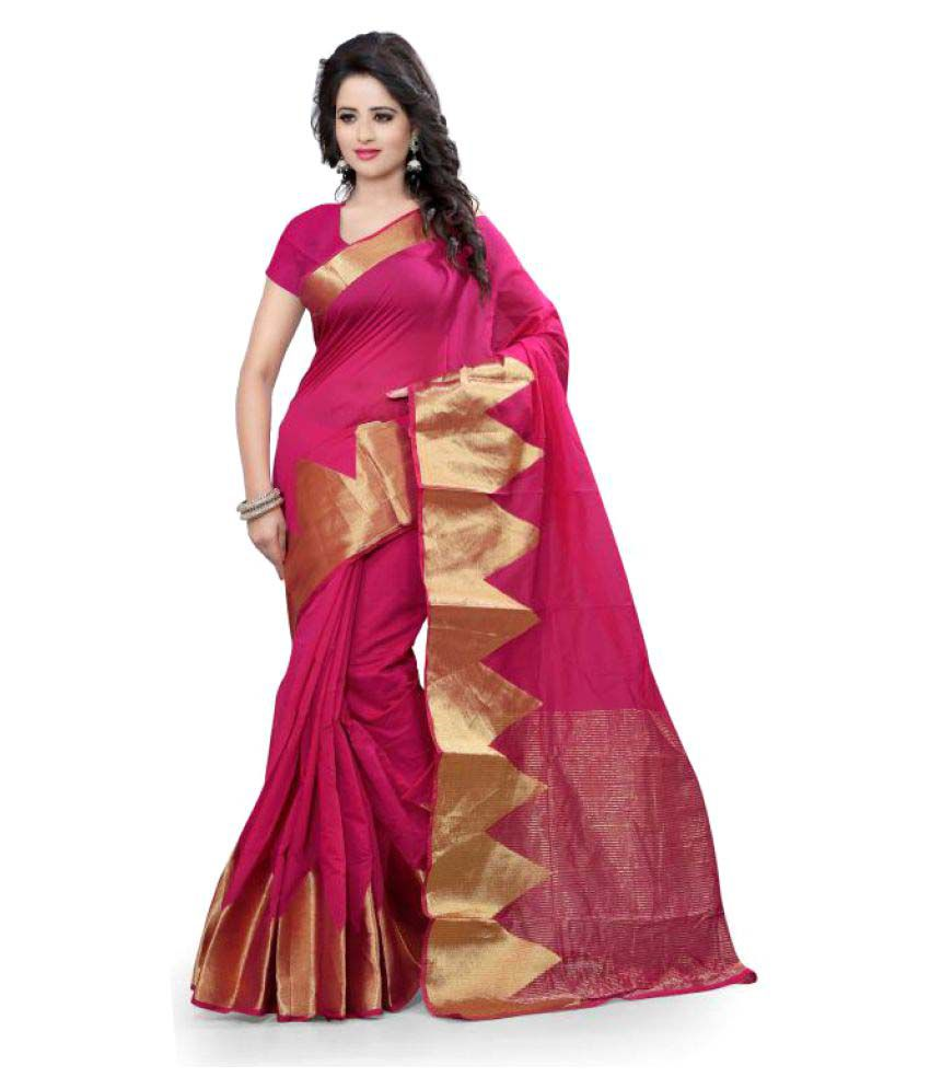 7 Star Jewel Pink Cotton Saree